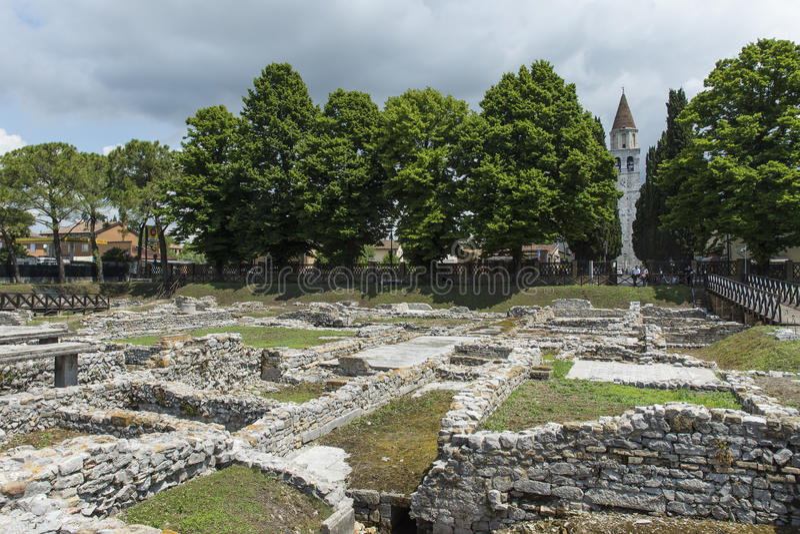 考古学挖掘在阿奎莱亚 图库摄影