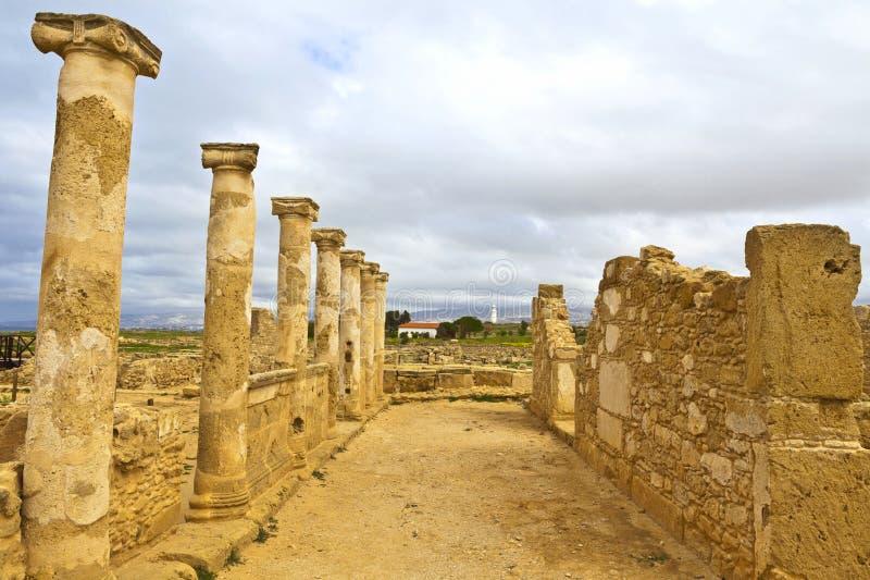 考古学Helenistic和罗马站点嘉藤的帕福斯在塞浦路斯。 库存照片