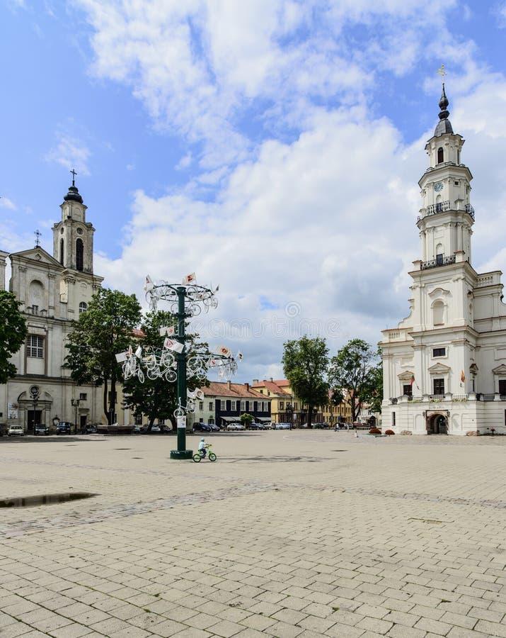 考纳斯,立陶宛,欧洲,城镇厅正方形 免版税库存图片