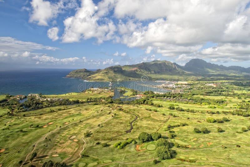 考艾岛高尔夫球场在夏威夷 免版税库存图片