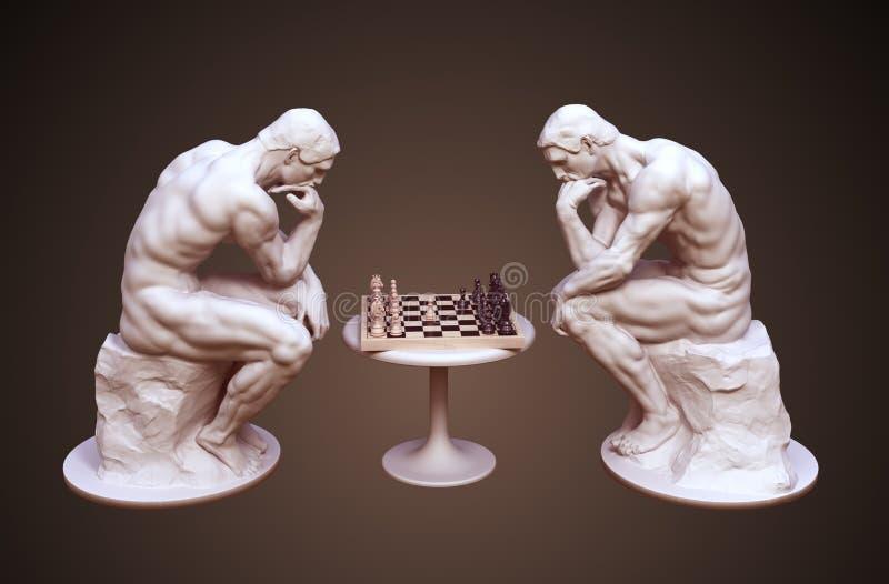 考虑下棋比赛的两个思想家在布朗背景 库存例证
