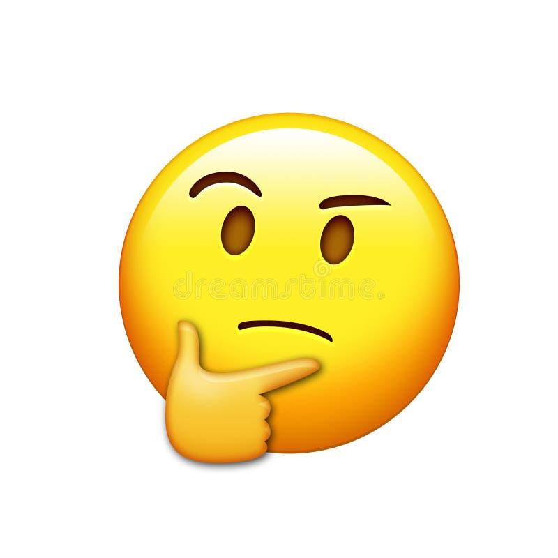 考虑与右手象的Emoji黄色面孔 库存例证