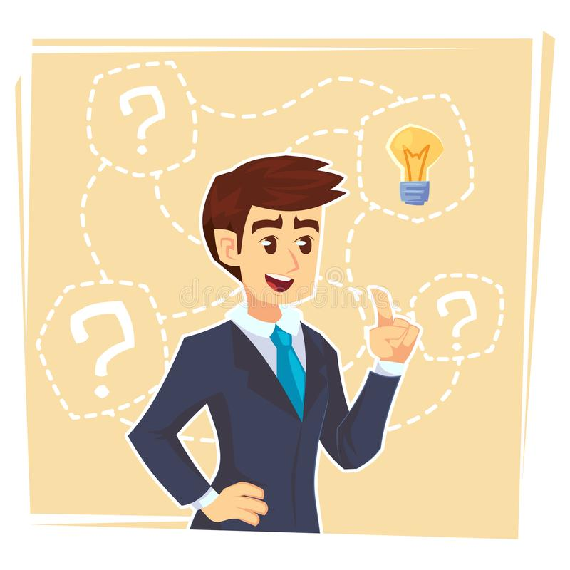 考虑创造性的想法的商人 站立与问号和想法电灯泡的商人在她的头上 事务我 库存例证