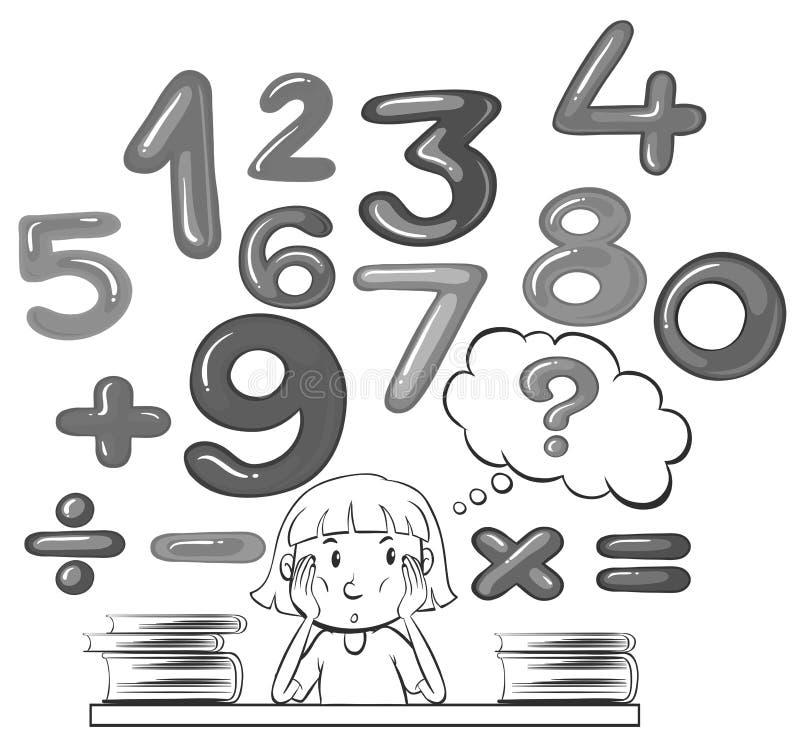 考虑数学题的女孩 库存例证
