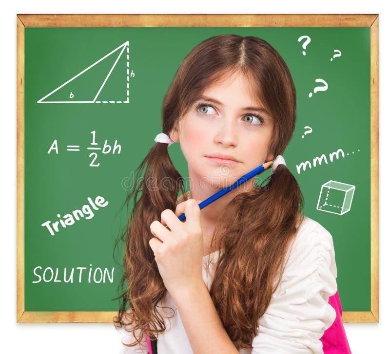 考虑数学任务 免版税库存图片