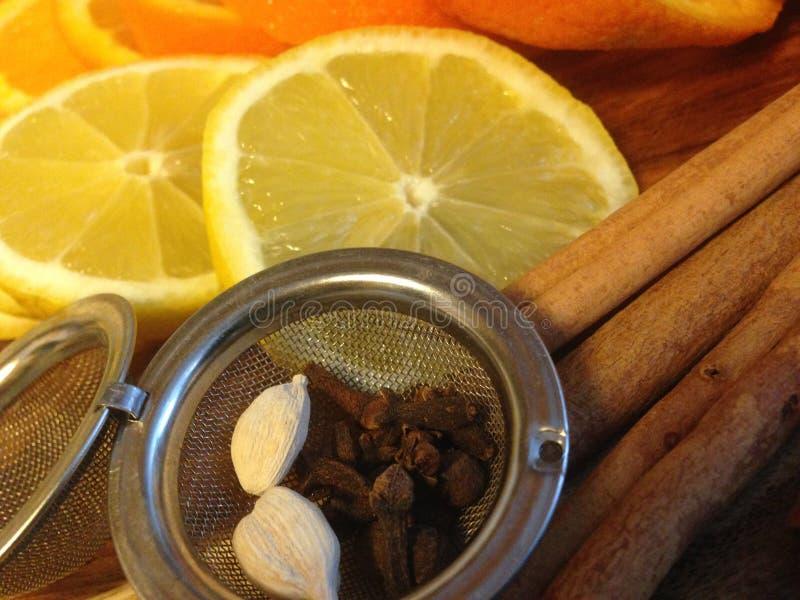 仔细考虑的香料和柑橘 免版税图库摄影