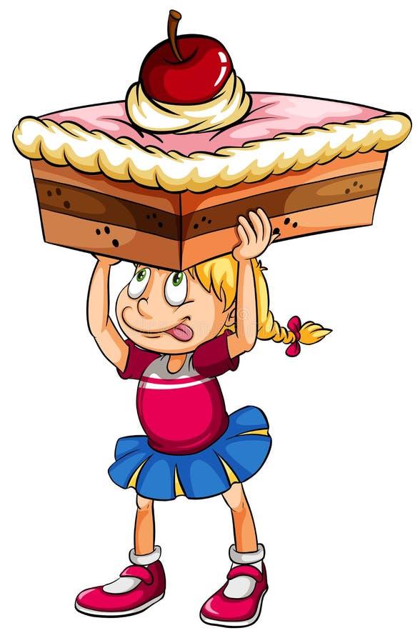 考虑蛋糕的一个女孩 库存例证
