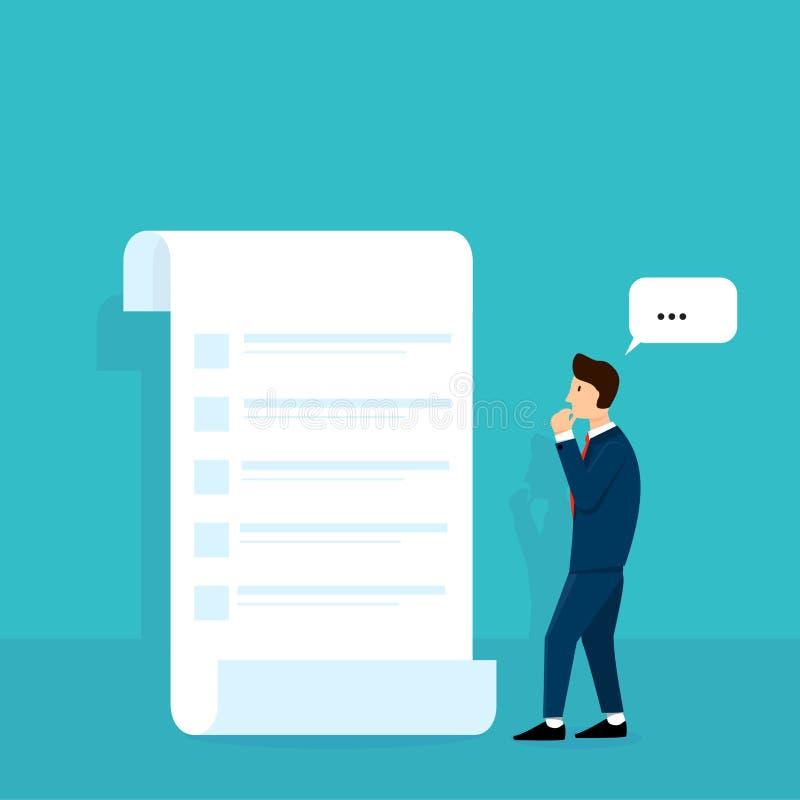 考虑计划或命令名单的商人做名单传染媒介例证设计观念 皇族释放例证