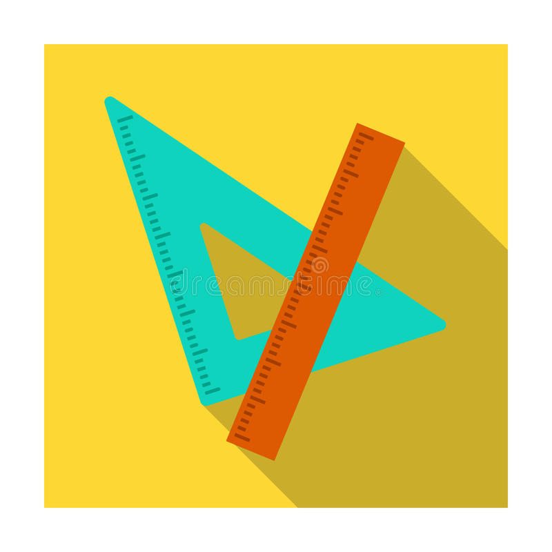 统治者和三角 学校图画的设备 在平的样式的学校和教育唯一象导航标志股票 皇族释放例证