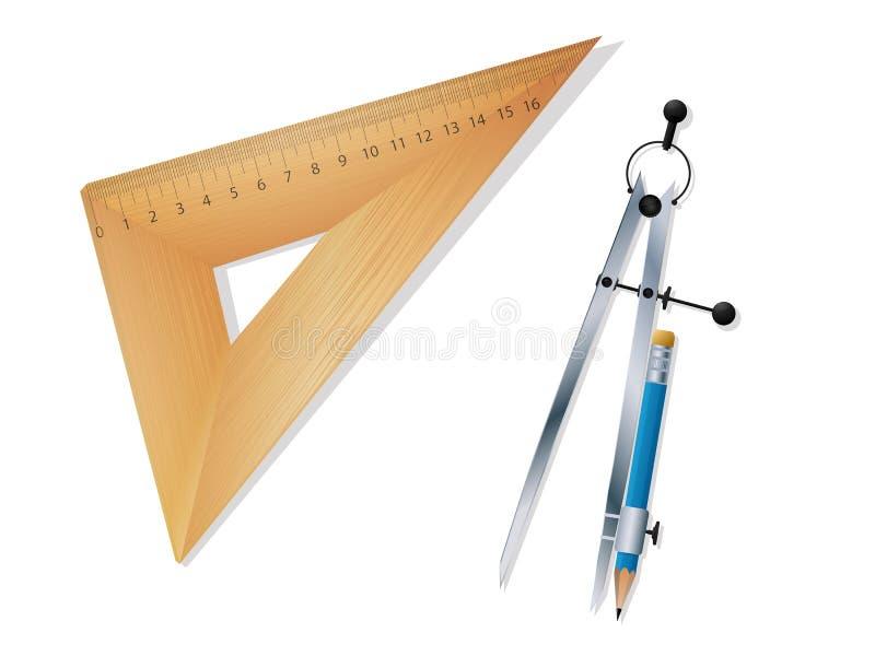 统治者和指南针 向量例证