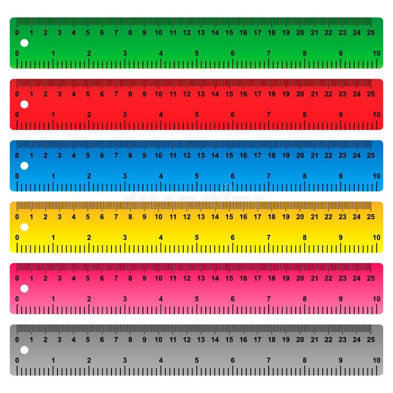 统治者在厘米、毫米和英寸 向量例证