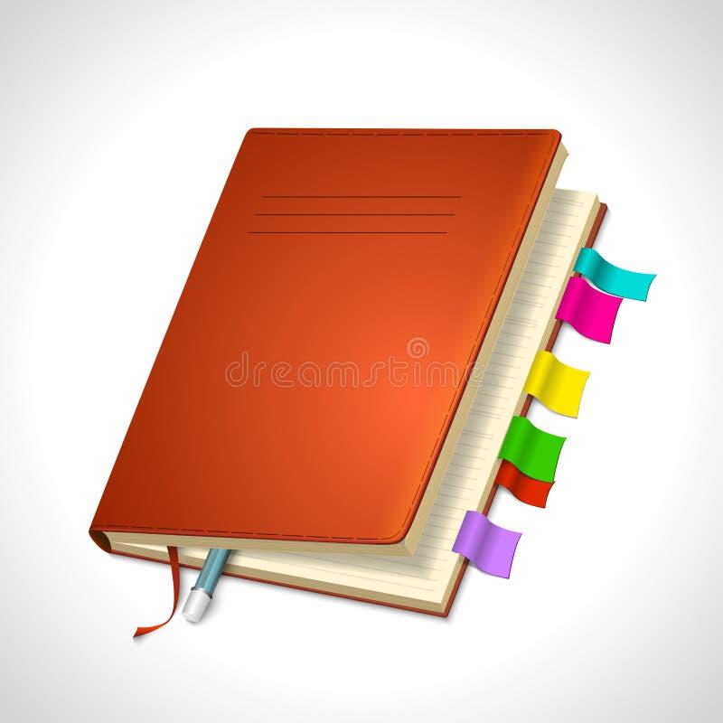 组织者您的设计的日记帐象 向量例证