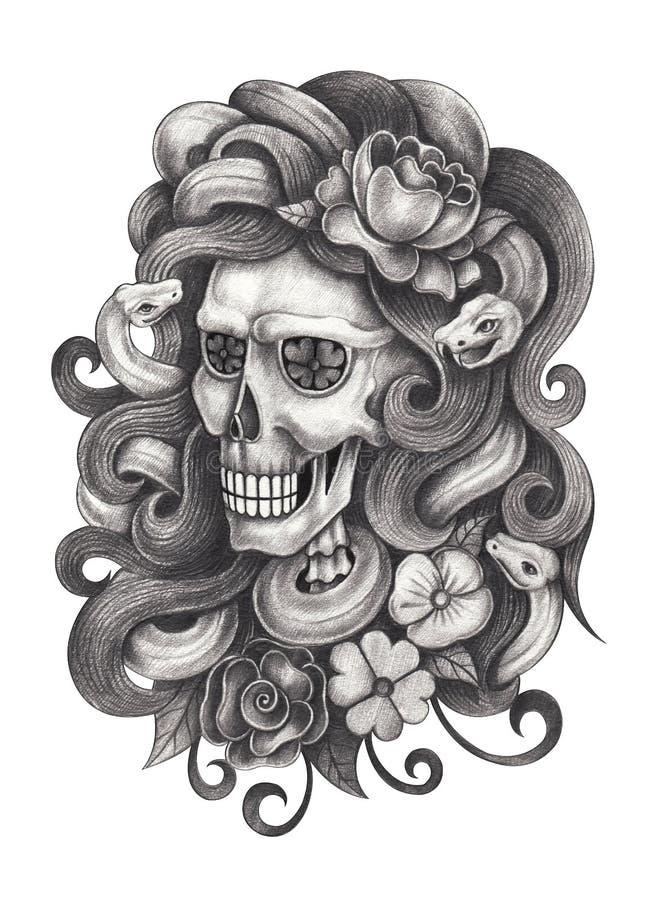 死者的艺术头骨超现实的天 向量例证