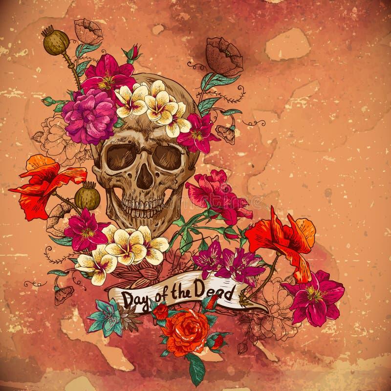 死者的头骨和花天 向量例证