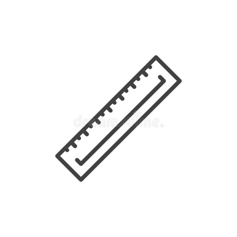 统治者线象,概述传染媒介标志,在白色隔绝的线性样式图表 库存例证