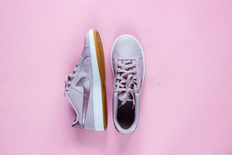 耐克法院罗亚尔岛网球在桃红色淡色背景的淡粉红色运动鞋 库存图片
