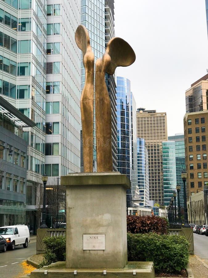 耐克,胜利雕象,温哥华的希腊女神,BC 库存图片