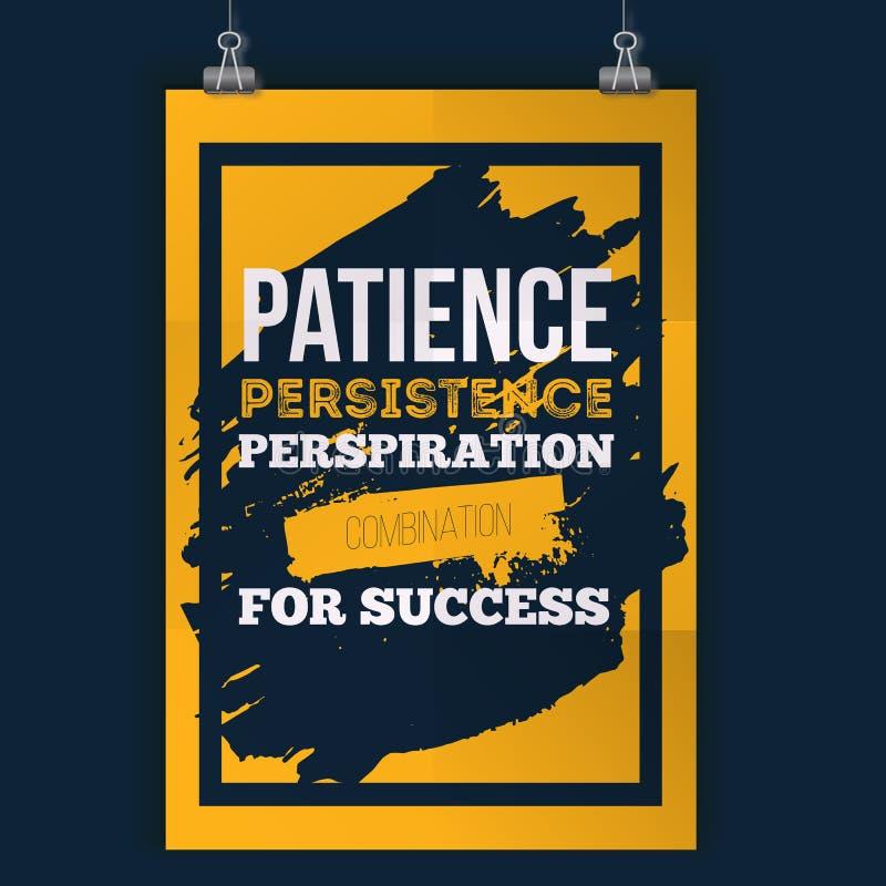 耐心坚持成功的印刷术食谱 概略的海报设计 在黑暗的背景的传染媒介词组 最好为 库存例证