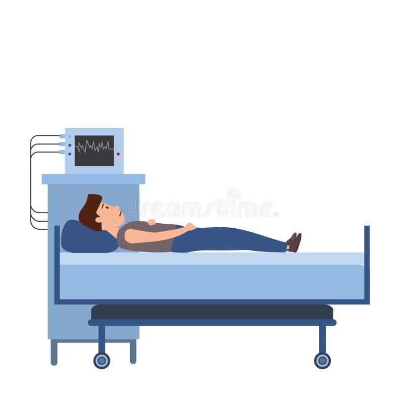 耐心年轻人在一张医疗床上,医疗设备 患者的住院治疗 r 向量例证