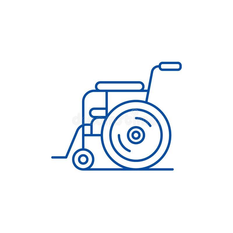 耐心椅子线象概念 耐心椅子平的传染媒介标志,标志,概述例证 向量例证
