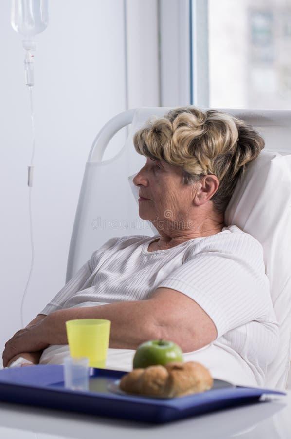 耐心食物在医院 库存照片
