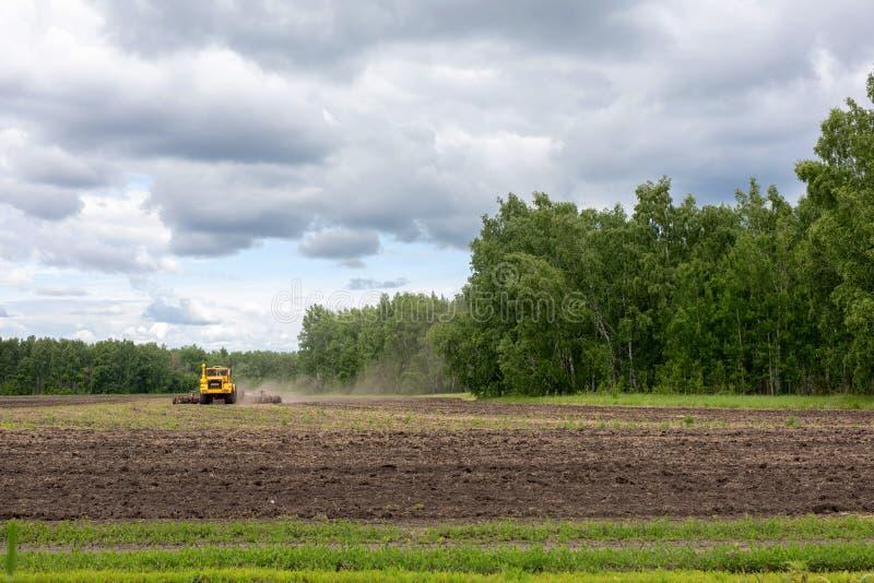 耕的拖拉机在领域耕种工作 机器犁领域,耙松并且耕种播种的五谷土壤 免版税库存照片
