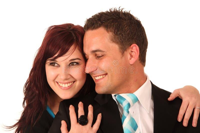 耦合爱微笑 免版税库存照片