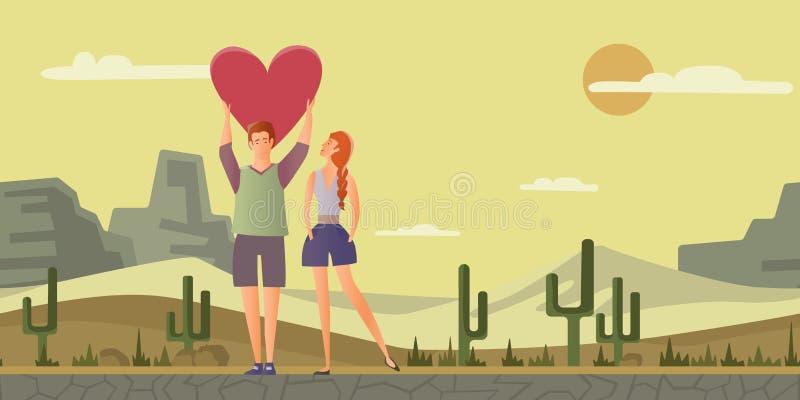 耦合爱年轻人 男人和妇女在一个浪漫日期在沙漠环境美化 也corel凹道例证向量 库存例证