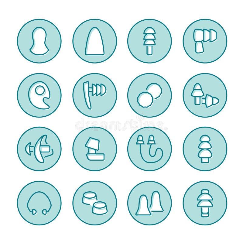耳塞平的线象 没有打鼾,耳朵安全例证的健康睡眠 医疗商店的稀薄的标志 库存例证