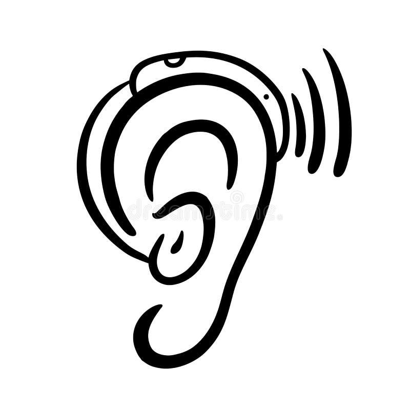 耳朵助听器手拉的传染媒介例证 向量例证