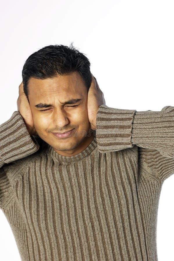 耳朵在年轻人的现有量人 免版税库存图片