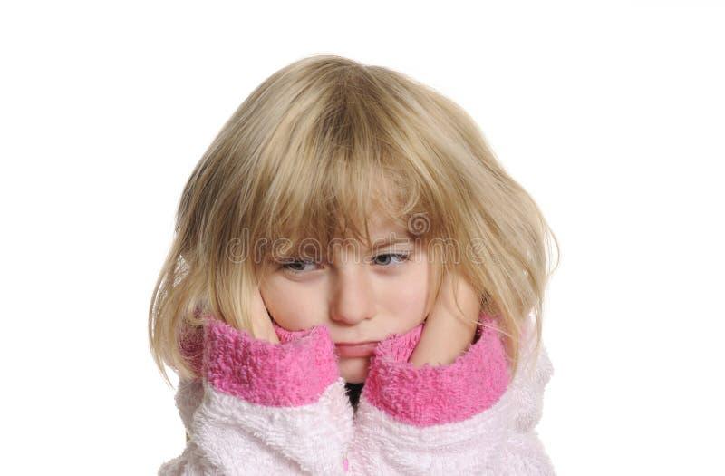耳朵痛女孩有一点 免版税库存照片