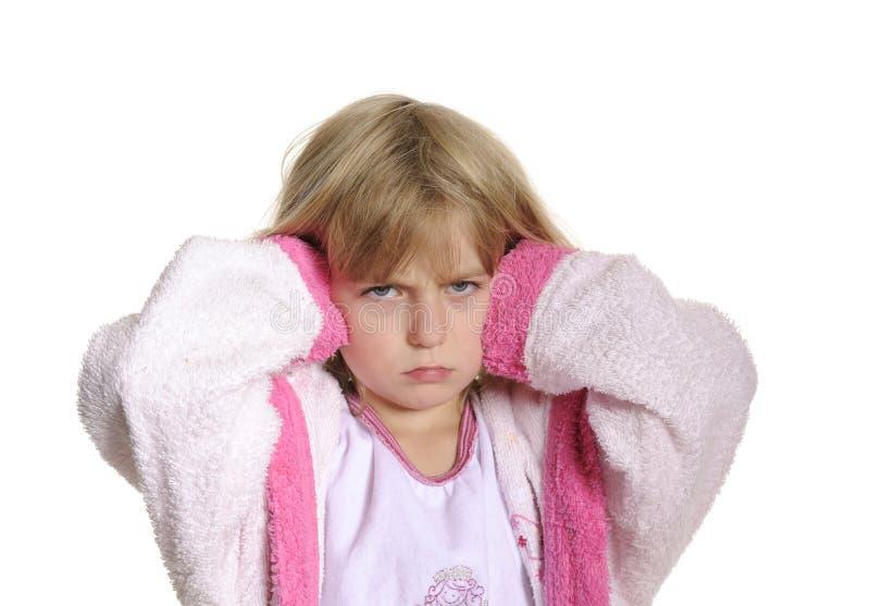 耳朵痛女孩有一点 免版税图库摄影