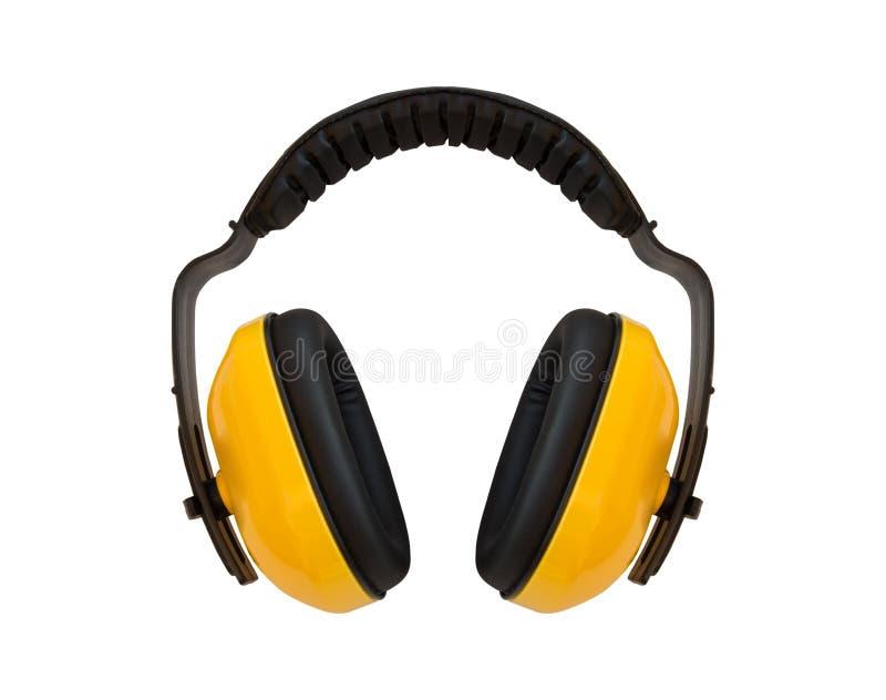 耳朵笨拙的人,噪声保护耳朵的 免版税库存照片
