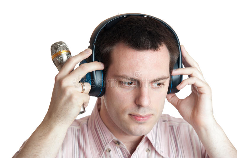 耳机人话筒年轻人 库存照片
