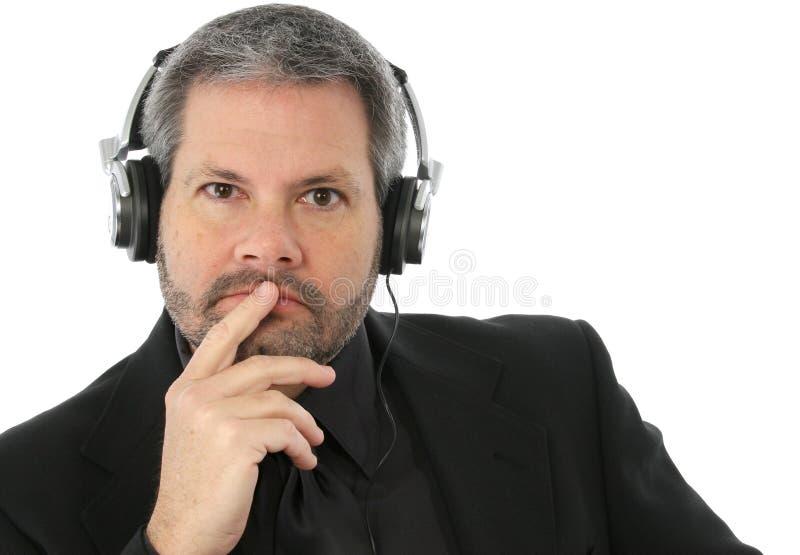 耳机人 免版税库存照片