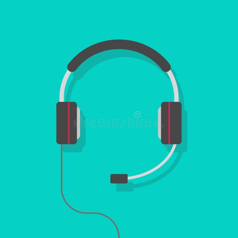 耳机传染媒介例证,有mic的平的动画片耳机隔绝了clipart 皇族释放例证