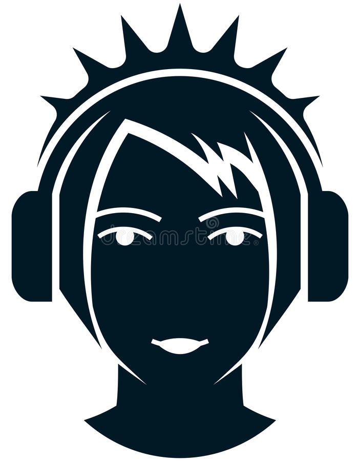 耳机例证的传染媒介女孩在白色 向量例证