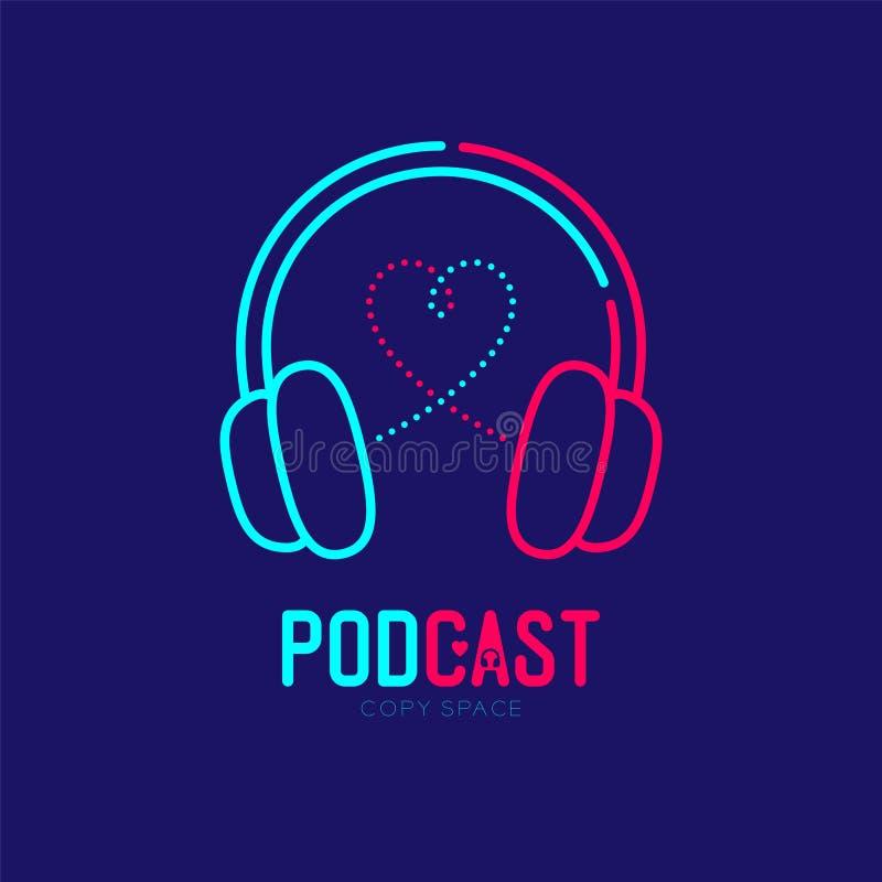 耳机商标象与心脏爱标志破折号线设计,Podcast互联网无线电节目网上概念的概述冲程 皇族释放例证