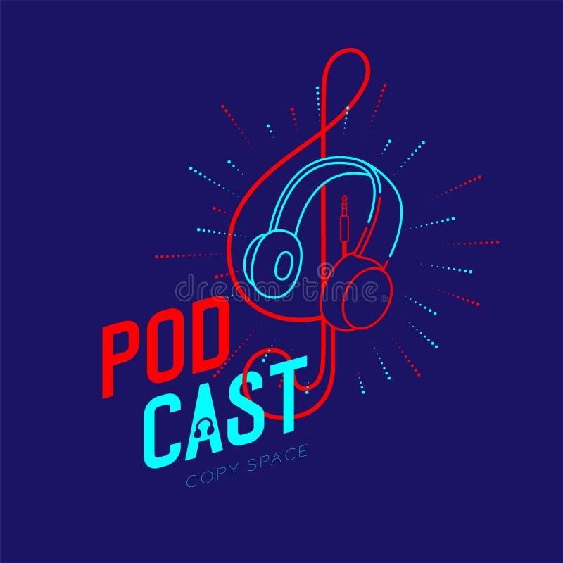 耳机商标象与音乐笔记高音谱号形状的概述冲程从缆绳破折号线,Podcast互联网无线电节目在网上 向量例证