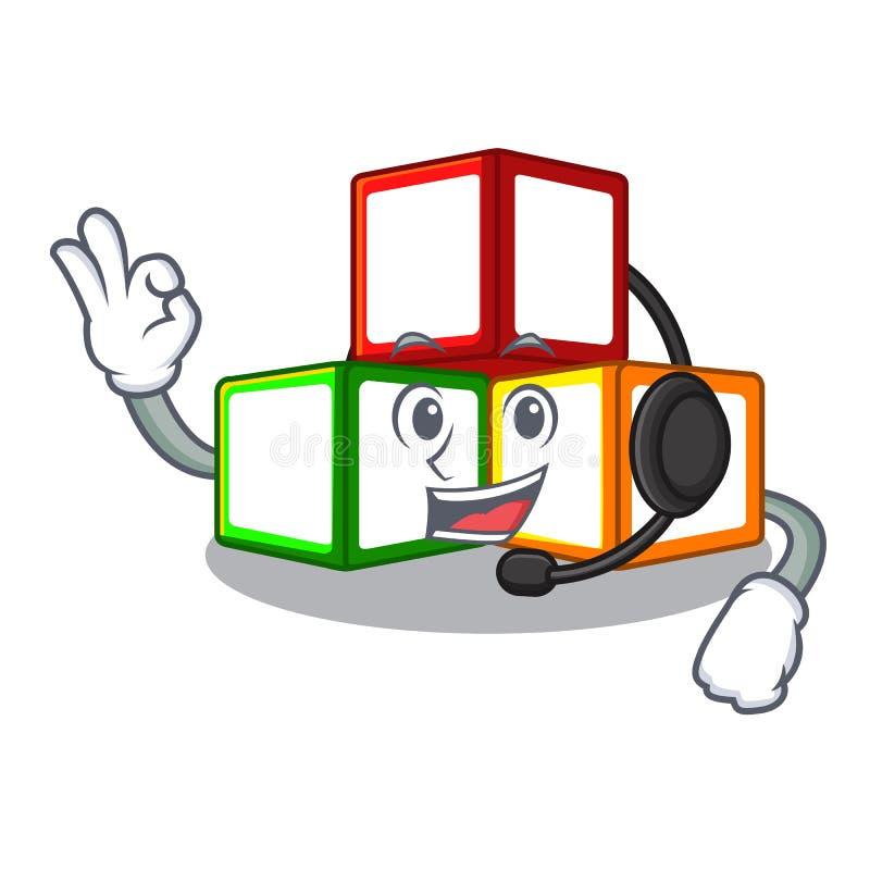耳机在立方体箱子吉祥人的玩具块 皇族释放例证