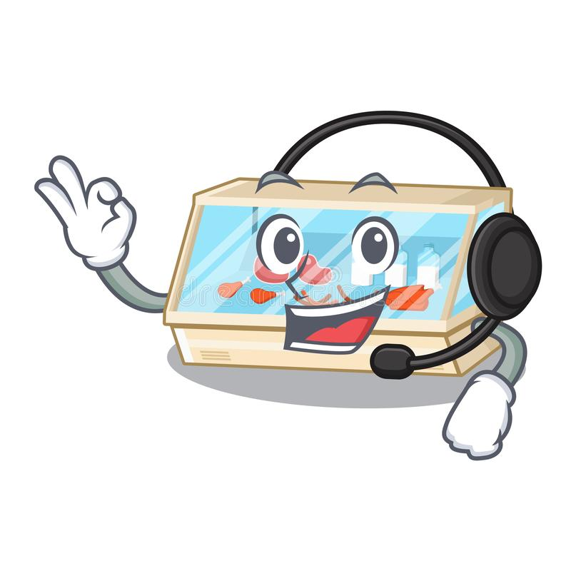 耳机在a动画片的贸易柜台 库存例证