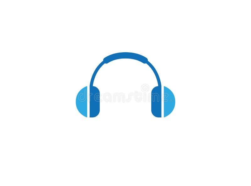 耳机或耳机客服的帮助商标 向量例证