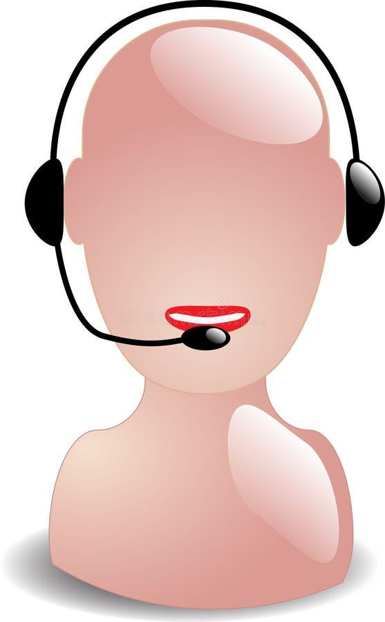 耳机服务电话工作者 库存例证