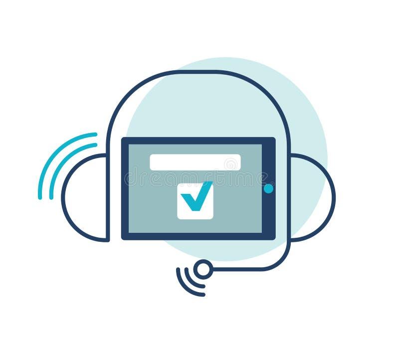 耳机没有雇工与智能手机象,电话中心支持例证 免版税库存图片