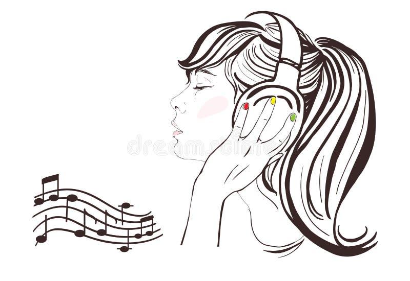 耳机的俏丽的女孩。手拉的例证 向量例证