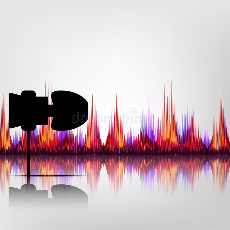 耳机的黑颜色有五颜六色的声波的 免版税库存照片