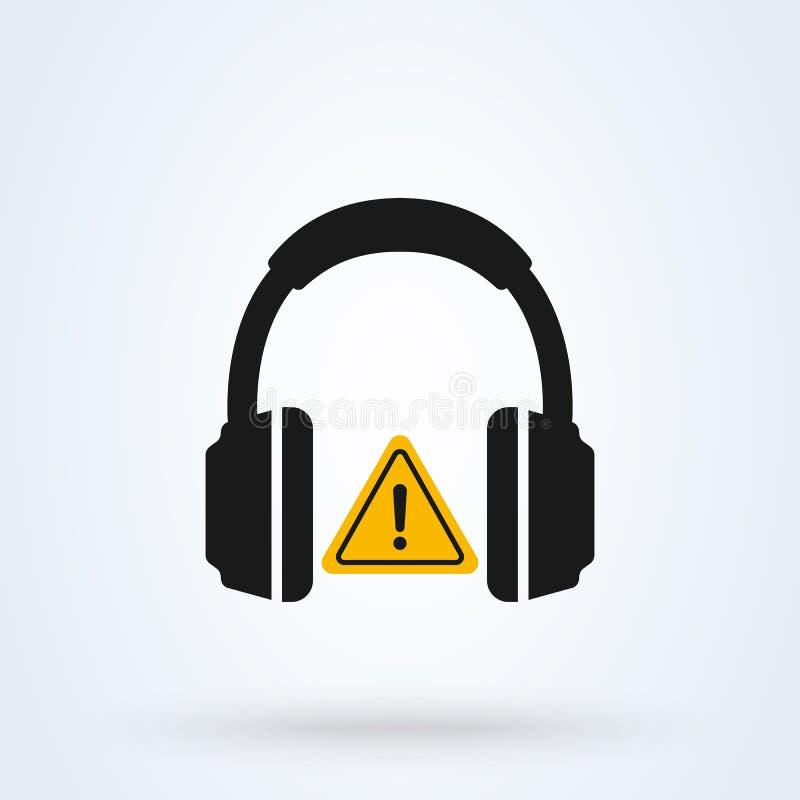 耳机简单的传染媒介现代象 耳朵保护标志,必须的听力保护 皇族释放例证