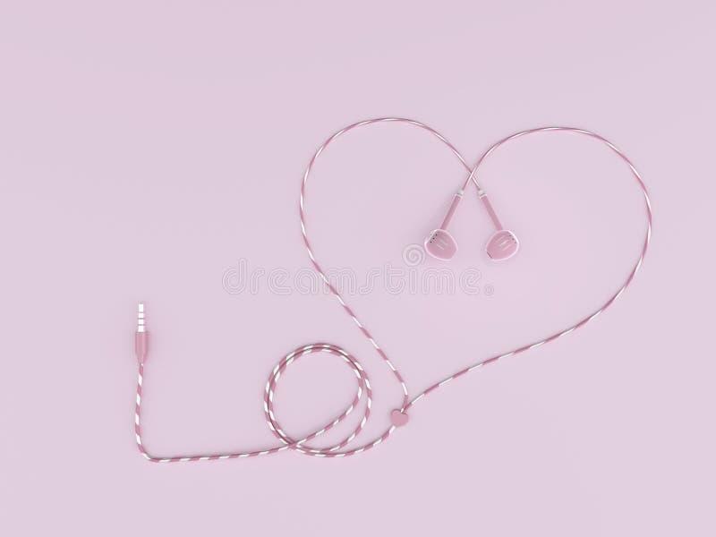 耳机粉色在粉红彩笔背景的导线心形 免版税图库摄影