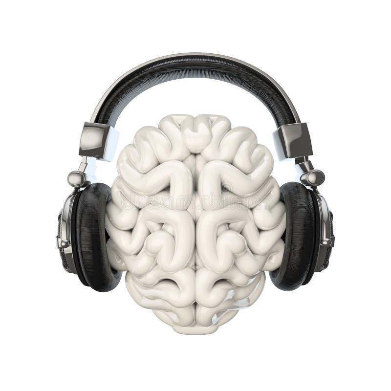 耳机脑子 库存例证